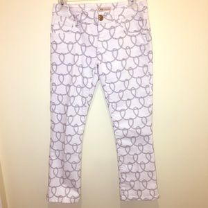 🧜🏻♀️ CAbi Cropped Rope Lasso Print White Jeans